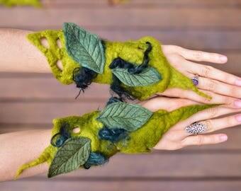 Felt Cuffs-Forest Gloves-Fairy Woodland Leaf Bracelets-Pointed Pixie Cuffs-Matching Wrist Cuffs-Felt Bracelets-OOAK