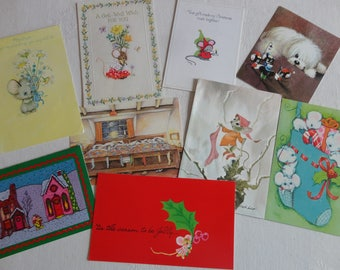 Merry Mousy Christmas or Cute Mice Love the Holidays Mothers Day Get Well in Vintage All Occasion Lot No 284 One Postcard 8 Cards