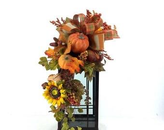 ON SALE Fall Lantern Swag, Fall Lantern Flowers, Fall Lantern Floral Arrangement, Fall Mantle Decor, Fall Table Decor, Autumn Mantle
