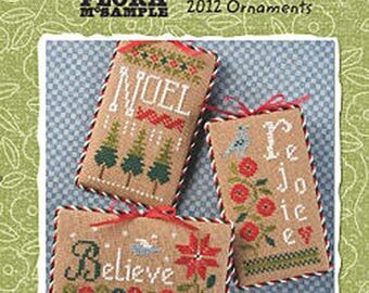 Lizzie Kate Snippet S105 - 2012 Ornaments - Christmas Cross Stitch Pattern Chart