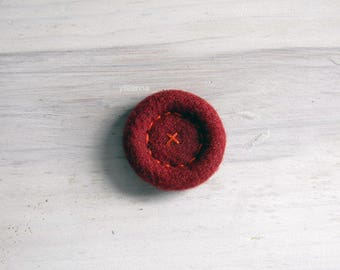 Tweed brooch. Solid lapel button. Made in Italy. Maroon red lapel pin.