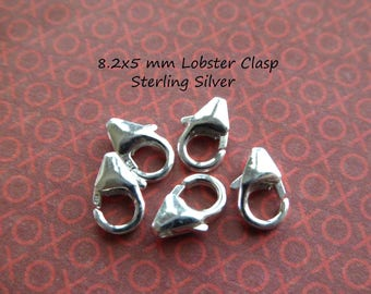 Sterling Silver Lobster Clasps Trigger Clasp / 5-100 pcs, 8.2 x 5 mm / wholesale jewelry findings / hp solo cs fc.m fc.s