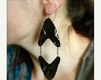 Blow out SALE Big Bold metalwork earrings in 24k gold plate, black gunmetal or sterling silver plate over bronze