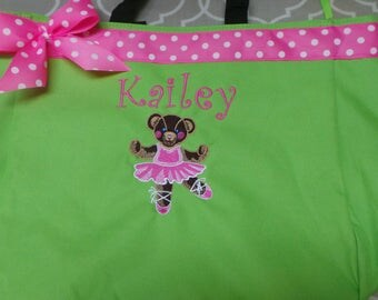 Ballerina Bear Bag Personalized  with Name, Ballerina Bear Ribbon and Bow Dance Bag Choose your bag and ribbon Embroidered
