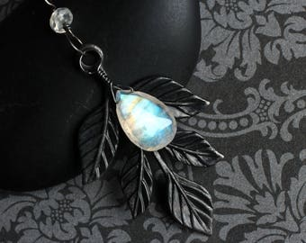 """Moonstone Necklace, Rainbow Moonstone, Leaf Accent, Oxidized Sterling Silver - """"Mirkwood"""" by CircesHouse on Etsy"""