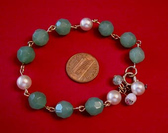 Beautiful Jade Colored Faceted Beads with Pearls, Bracelet.