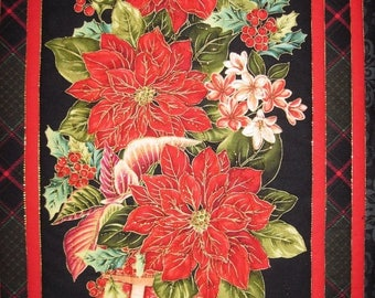 Summer Sale Quilted Wall hanging Red Poinsettia Wall art Asian black and red