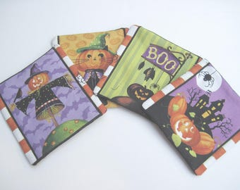 Halloween coaster set of 4 quilted cotton coasters