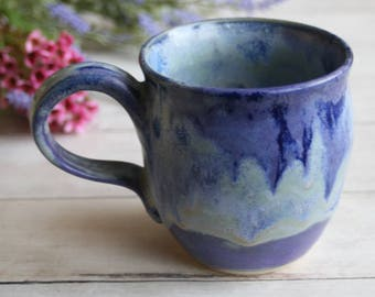 Handcrafted Coffee Cup in Dripping Purple and Blue Glazes Large Pottery Mug Wheel Thrown Stoneware 16 oz. Ready to Ship Made in the USA
