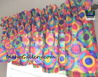 Rainbow Stained Glass Geometric Summer Valance Classroom School Room Curtain Window Treatment by Idaho Gallery