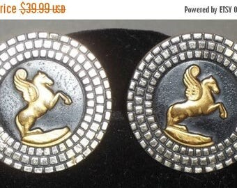 ON SALE Vintage Large Pegasus Winged Horse Swank Cuff Links Cufflinks Gold Tone Mosaic Look