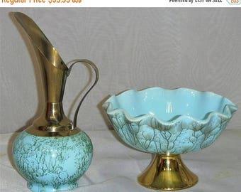 ON SALE Vintage Holland Blue Green Gold Brass Bowl Pitcher/Ewer Set
