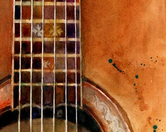 Acoustic Ovation anniversary  Guitar Print from my Original Watercolor Art Print - music den