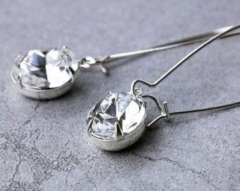 1920s Drop Earrings | Clear Crystal Earrings | Wedding Earrings | Bridal Jewelry | April Birthstone | Vintage Swarovski | Bridesmaid Gift