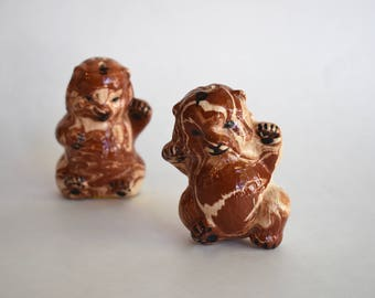 Vintage Marbled Bear Salt and Pepper Shakers