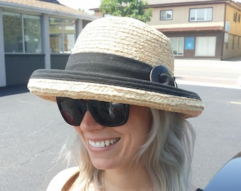 Raffia Straw  wide brim sun hat with classy summer hat black trim and buckle