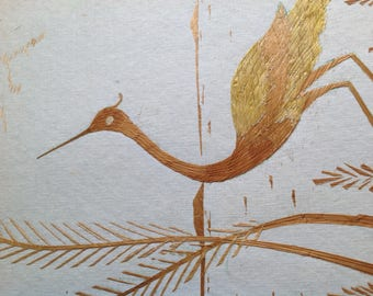 Bird in bush Handmade with rice straw. Have U seen ancient rice straw art? Avian art Collectible art at affordable price. Unique gift
