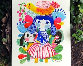 Girly Blues... original watercolor... 9 in x 12 in...