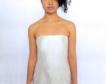 40% SUMMER SALE The Beige Silk Strapless Dress