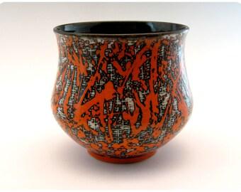 Etched Porcelain Bowl With Splatters