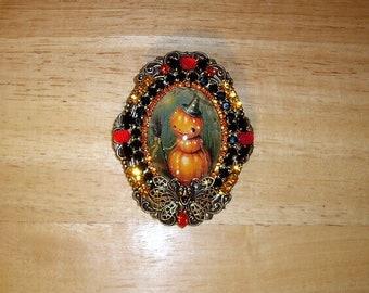 Vintage Halloween Pumpkin Witch Pin Brooch Pendant Antique Brass OX By C Erbsland OOAK Signed