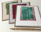 Larch Print Cards, hand-printed cards, art cards, greeting cards, folded card with recycled kraft envelope, blank tree cards
