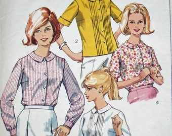 Vintage 1960s Sewing Pattern, Simplicity 6506, Misses' Set of Blouses, Misses' Size 14, Bust 34""
