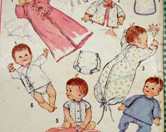 Vintage 1960s Sewing Pattern, Simplicity 5163, Infants Layette, In One Size