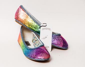 Ready to Ship - Size 9 Tiny Sequin Custom Rainbow Ballet Flats Slippers Shoes