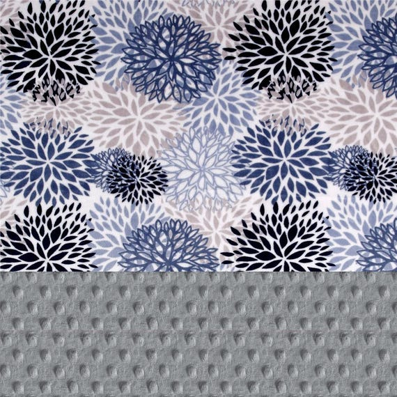60 x 70 Blooms Minky Adult Blanket Flowers Blue Gray  Navy / Flower Blanket / Coral Throw / Twin Blanket / Personalized Gift
