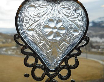 My True Blue Heart - Vintage dish given new life as a Windchime