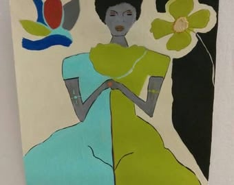 black woman art, black girl painting,  blue dress green dress, afrikaans art,African American art,black woman painting,flower, natural hair