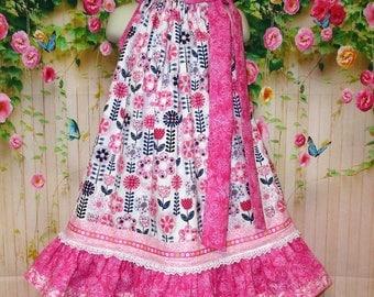 Girls Dress 4T/5 Pink Blue White Flower Pillowcase Dress, Pillow Case Sundress