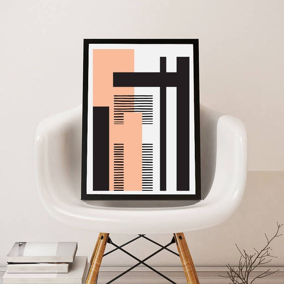 GEO LANDSCAPE pink // Poster Abstract art, 24x36, minimalist art, geometric print, scandinavian style, Nordic design, black and white