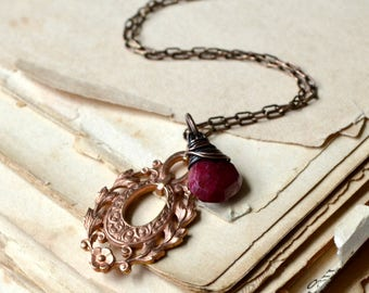 Ruby necklace, romantic copper necklace, raspberry red gemstone necklace - Beloved