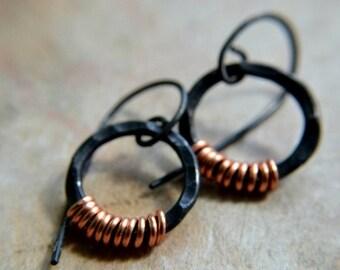 ON SALE Black copper earrings, hammered metal, hand forged rings, metalwork, autumn rustic minimalist - Enceladus