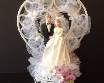 Vintage 1980 Bride And Groom 25th Silver Anniversary Wedding Cake Topper
