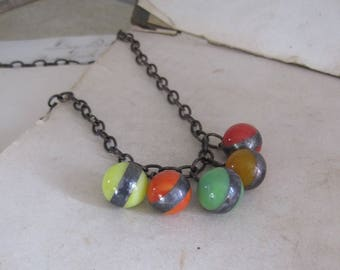 Vintage Glass Marble Necklace One of a Kind Jewelry Colorful