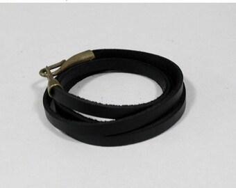 Black Leather Wrap Bracelet Leather Cuff Bracelet with Bronze Hook Clasp