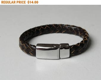 Dark Brown Leather Bracelet Leather Cuff with Stainless Magnetic Clasp