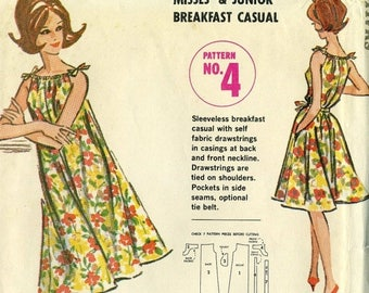 ChristmasinJuly Vintage 60s McCalls UNCUT Quaker Oats 4 Misses Breakfast Casual Drawstring Neckline Dress Sewing Pattern Size Small