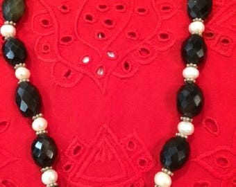 Necklace - Freshwater Pearls Faceted Smoky Quartz