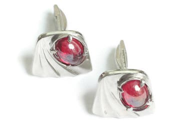 Red Glass Cabs Cuff Links Cufflinks Silver Tone Modernist Vintage