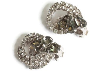 Vintage Rhinestone Clip On Earrings Clear Chatons Smoky Gray Pear Stones