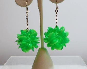 Sale 15% 1960's Green Earrings Dangle Neon Gold Tone Mod Boho Lime