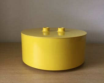 large yellow heller serving bowl with lid