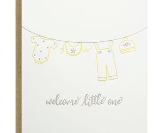 Baby Clothesline Welcome Little One Letterpress Card