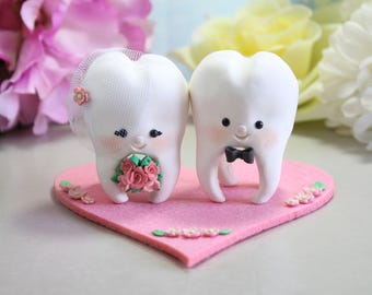 Molar Teeth wedding cake toppers bride and groom - dentist dental hygienist odontologist oral surgeon funny cute figurines personalized