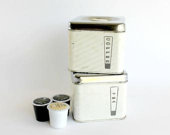Vintage Tin Coffee Tea Canister Set K Cup Holder Mid Century Modern Kitchen Decor Storage Lincoln BeautyWare
