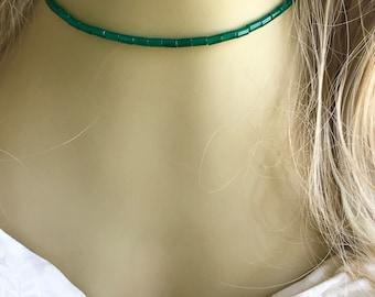 Green Choker, Green Onyx Gemstone Choker Necklace